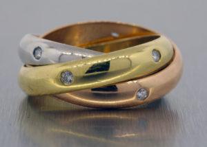 Cartier Trinity 18k gold diamond ring band