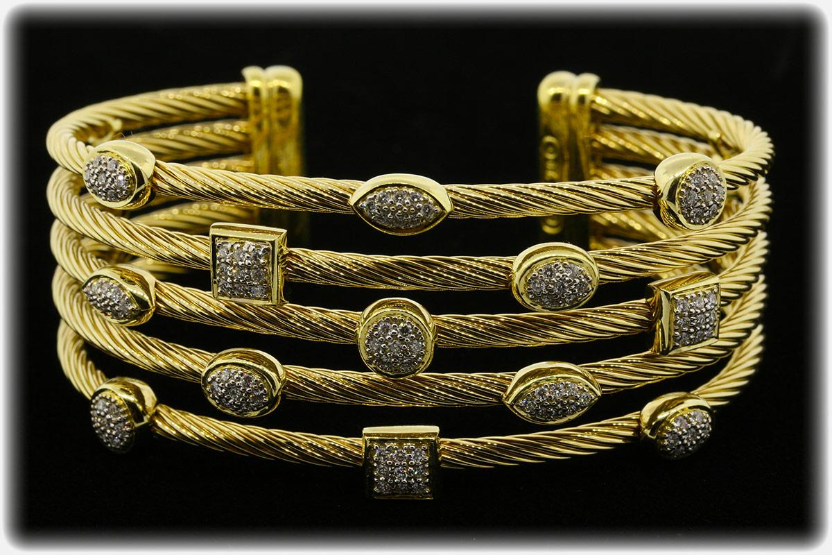 David Yurman 18k gold diamond confetti cuff bracelet