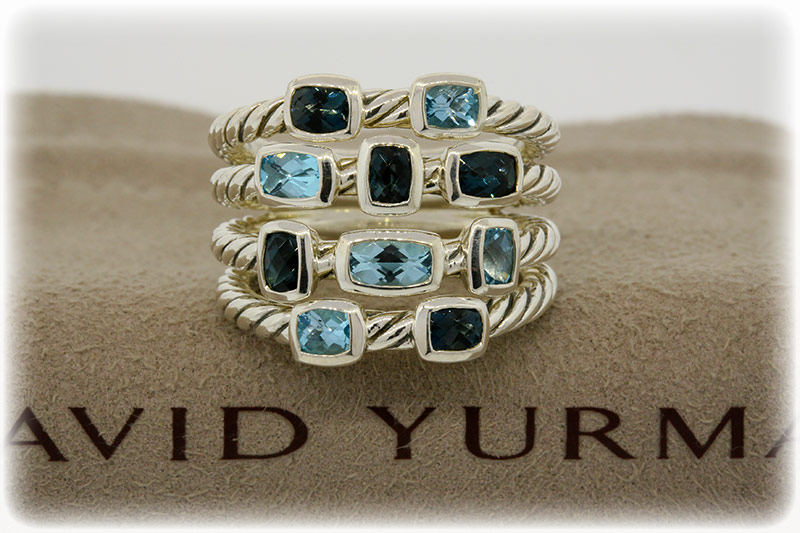 David Yurman Sterling topaz Chiclet ring 1