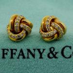Tiffany & Co. 18k gold diamond Love Knot Stud earrings