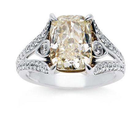 Gorgeous Antique Emerald Cut Yellow Diamond Ring