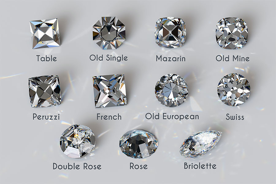 Eleven Antique Diamond Cut Styles